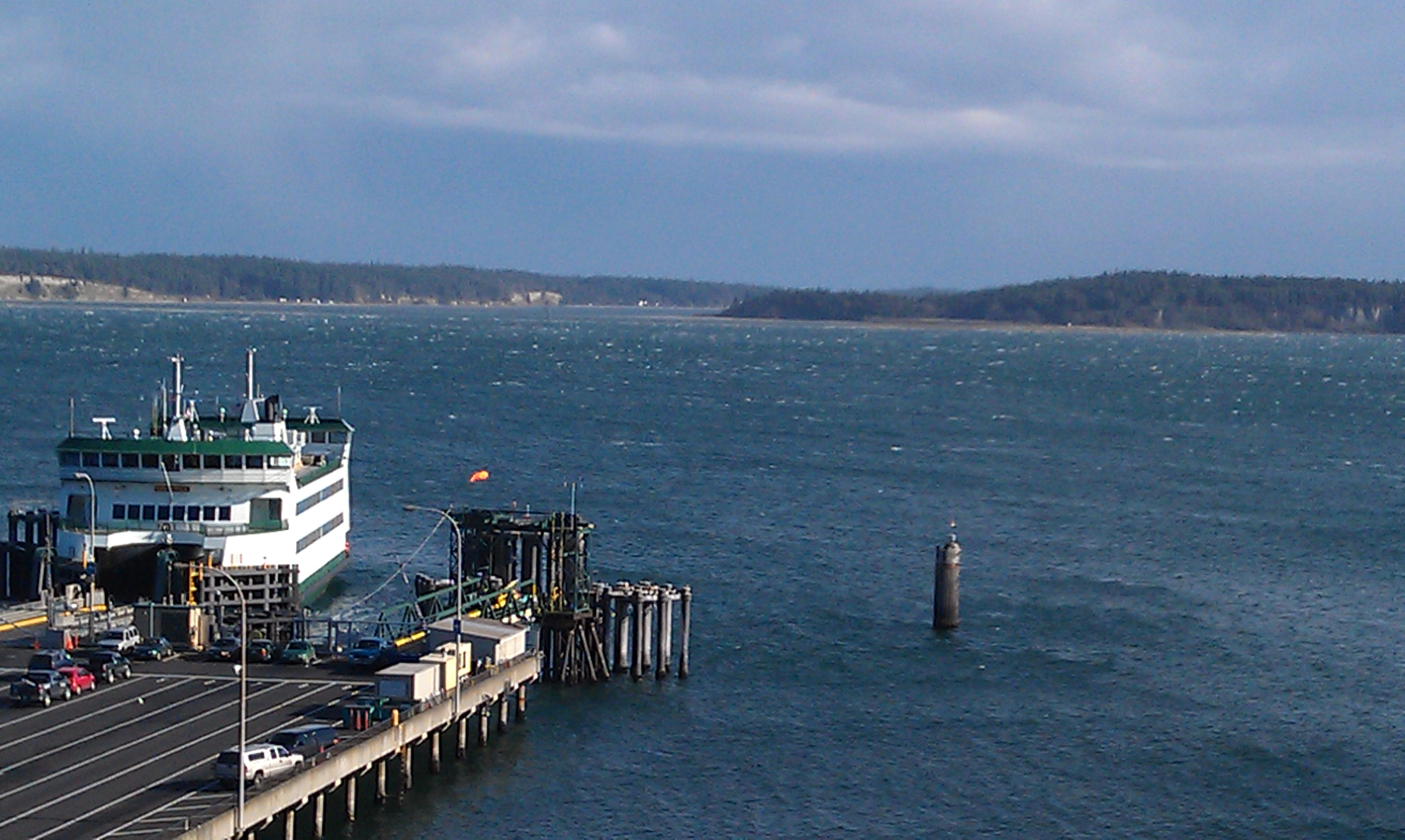 Spring weather over Port Townsend Bay and the ferry dock